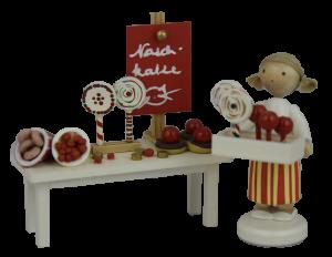 Figur Süßigkeiten-Stand von Flade, Original Erzgebirgisch