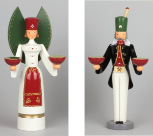 Holzfiguren Engel und Bergmann