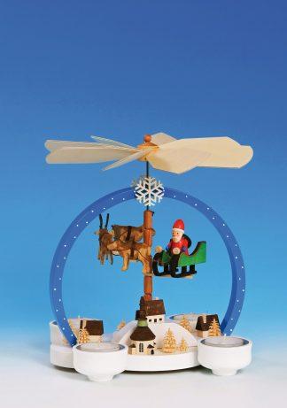 Echt Erzgebirgische Teelicht-Pyramide (bunt), Weihnachtsmann-Motiv