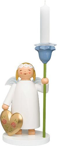 Echt Erzgebirgischer Margeritenengel, Figur mit Kerzenhalter und goldfarbenem Herz, Wendt & Kühn
