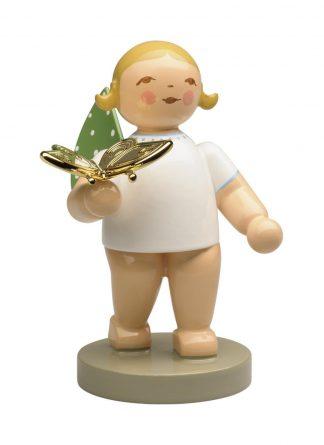 """Engelsfigur """"Träumer"""" von Wendt & Kühn, Goldedition Nr. 13, mit vergoldetem Schmetterling, blond"""