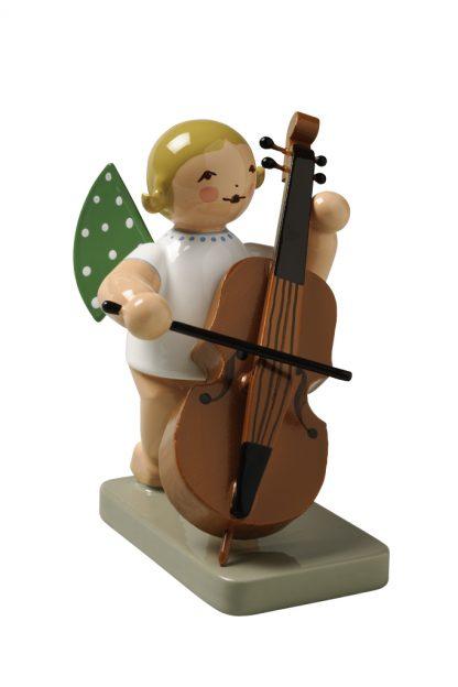 Grünhainichener Engel®, blonde Engelfigur mit Kontrabass von Wendt & Kühn