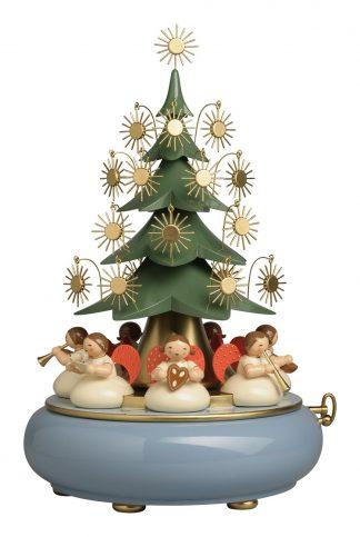 Spieluhr Wendt & Kühn in Pastelltönen mit geschmücktem Weihnachtsbaum und Engelfiguren