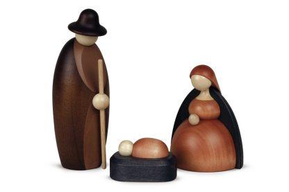 Minimalistisches Figurenset mit Maria, Joseph und Jesuskind in Krippe, Brauntöne, Original Erzgebirgisch von Björn Köhler