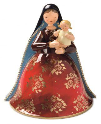 """Holzfigur """"Madonna mit Christkind"""" von Wendt & Kühn, rotes Kleid mit goldenen Blüten, blauer Schleier"""