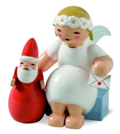 Wendt & Kühn Margeritenengel, Original Erzgebirgisch, sitzende Engelfigur mit Weihnachtsmann und Brief
