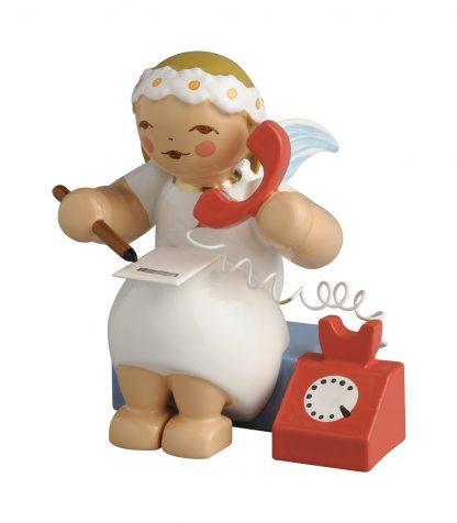 Margeritenengel von Wendt & Kühn, gedrechselte Holzfigur mit Telefon, Stift und Notizblock