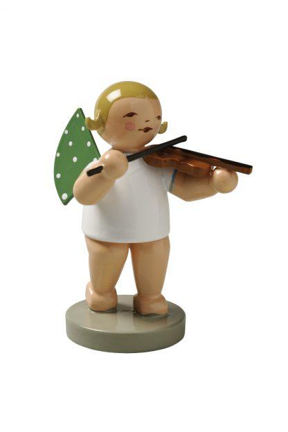 Original Erzgebirgischer Engelmusikant mit Violine auf grauem Sockel von Wendt & Kühn