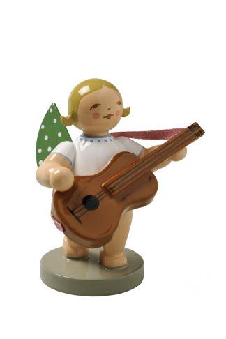 Engelmusikant mit Gitarre auf grauem Sockel, Original Erzgebirgisch von Wendt & Kühn
