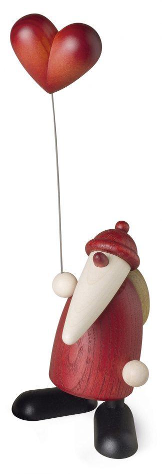 Original Erzgebirgische Holzfigur von Björn Köhler, Weihnachtsmann mit Herz-Ballon