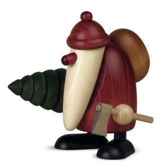 Weihnachtsmann-Figur von Björn Köhler mit Tanne, Original Erzgebirgisch, bunt lasiert