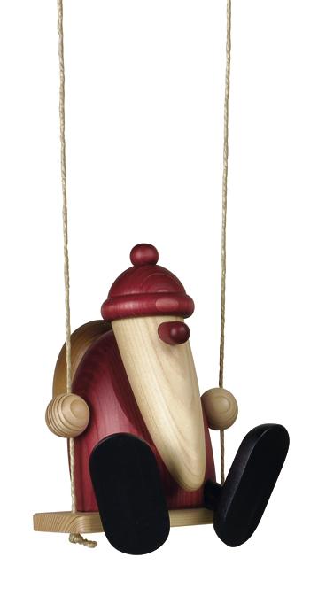 Weihnachtsmann-Figur auf Schaukel, sitzend, Original Erzgebirgisch von Björn Köhler