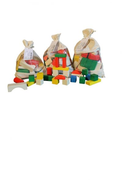 Holzbausteine bunt & natur von Ebert Holzspielwaren, Set im Stoffbeutel
