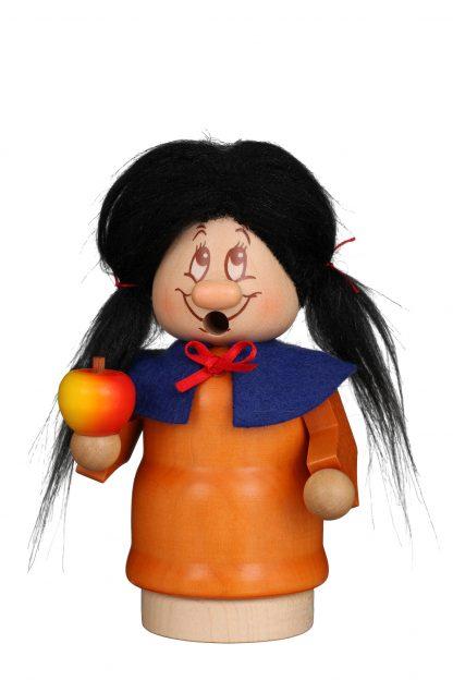 """Räuchermännchen """"Schneewittchen"""" mit Apfel, Original Erzgebirgischer Miniwichtel von Christian Ulbricht mit orangefarbenem Kleid, blauem Kragen & schwarzem Haar"""