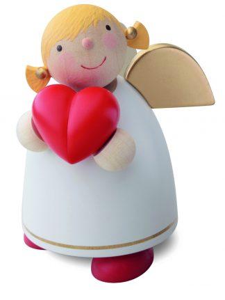 Schutzengel mit Herz, gedrechselt und handbemalt von Günter Reichel, weiß mit rotem Herz