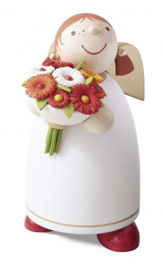 Schutzengel mit Blumenstrauß, Engelfigur von Günter Reichel, handbemalt, Echt Erzgebirgisch