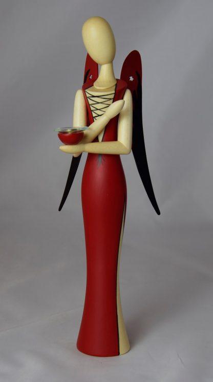 Sternkopfengel im roten Kleid mit Kerzenhalter, Flügel mit angedeuteten Flammen, Original Erzgebirgisch