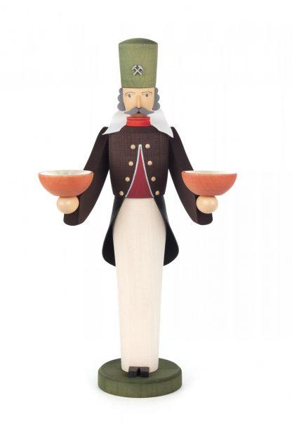 Original Erzgebirgischer Bergmann, gedrechselte Figur von Wolfgang Braun, farbig lasiert mit zwei Kerzentüllen
