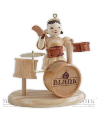 BLANK Kurzrockengel, Faltenrockengel natur mit Schlagzeug, Original Erzgebirgisch
