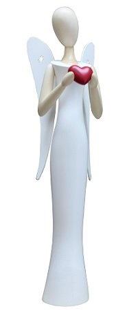 Moderne Engelfigur von Gahlenz, Echt erzgebirgisch, stehend, im weißen Kleid mit Herz in den Händen