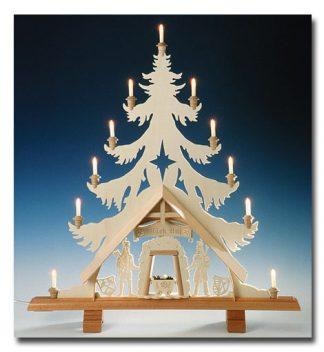 Lichterspitze in Tannenform, Original Erzgebirgischer Schwibbogen mit 11 Kerzen