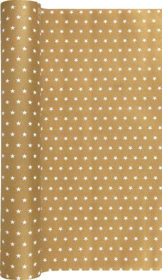 Tischläufer gold mit kleinen weißen Sternen - 1
