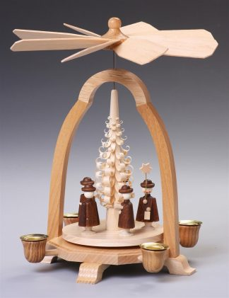 Tischpyramide mit Spanbäumchen & Kurrende, natur