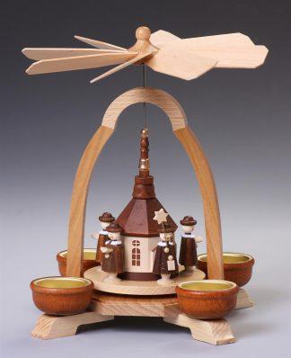 Teelicht-Pyramide mit Kirche, natur